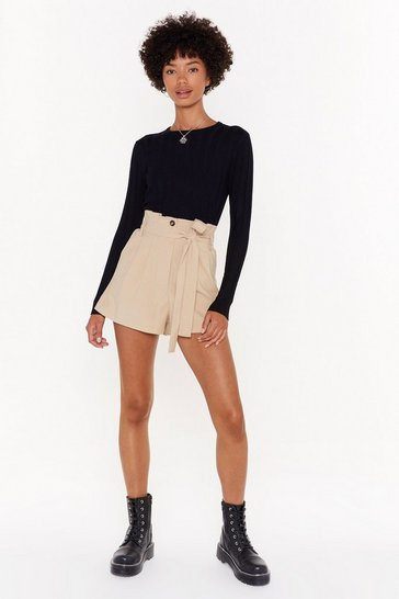 Womens Sand What's in Our Paperbag of Tricks Belted Shorts