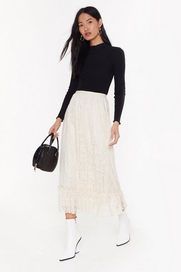 Womens Cream Party's Over Tier Lace Midi Skirt