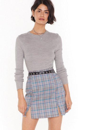 Womens Grey Check It off the List Check Mini Skirt