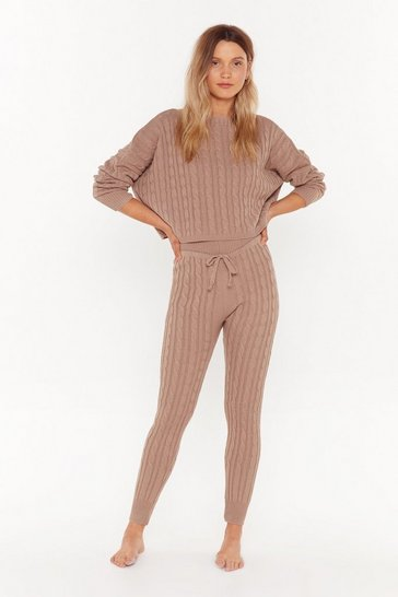 Womens Brown Knit's Not Going to Happen Sweater and Joggers Lounge Set