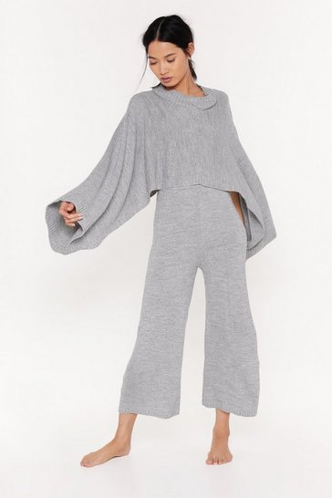 Womens Grey Chill Knit Out Batwing Sweater and Pants Lounge Set