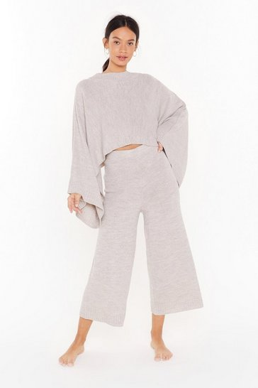 Womens Stone Chill Knit Out Batwing Sweater and Pants Lounge Set