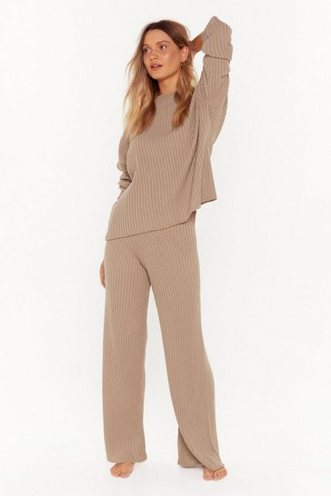 Womens Brown Take Knit Off Sweater and Pants Lounge Set