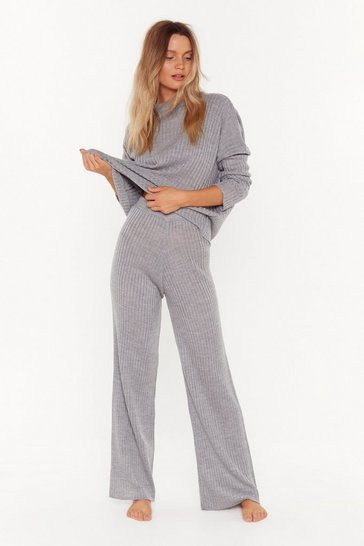 Womens Grey Take Knit Off Sweater and Pants Lounge Set