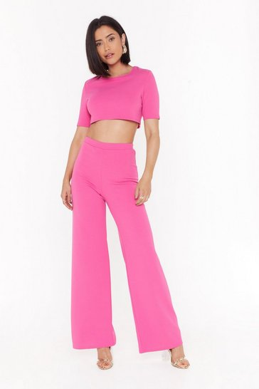 Womens Hot pink Settle the Score Crop Top and Trousers Set