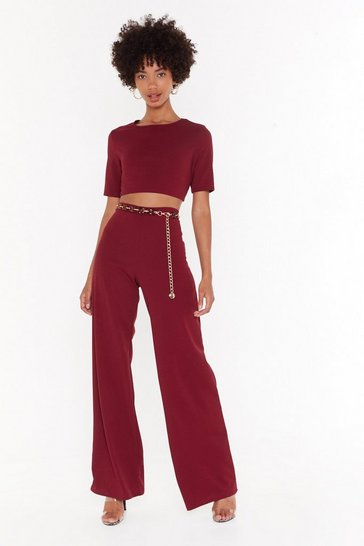 Womens Maroon Settle the Score Crop Top and Trousers Set