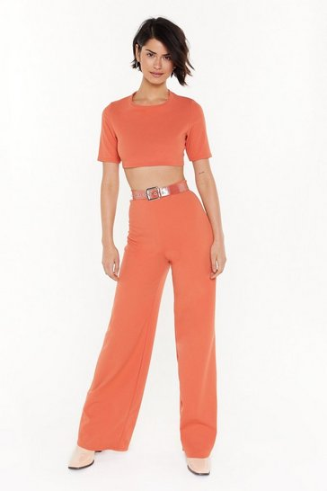Womens Rust Settle the Score Crop Top and Trousers Set
