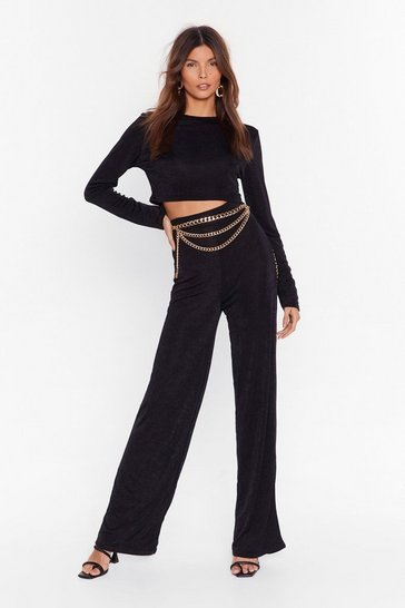 Black Just the Two of Us Crop Top and Wide-Leg Pants Set