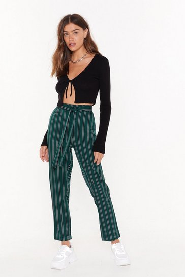 Womens Green We're the Jealous Pinstripe Tapered Pants