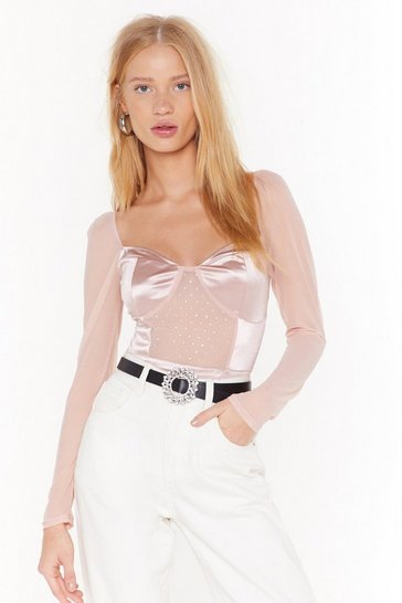 Womens Nude Spot It Diamante Mesh Bodysuit