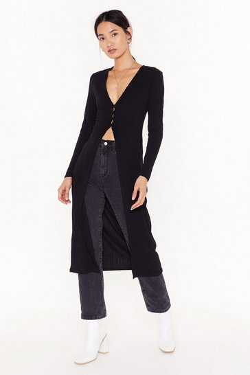 Black Don't Be Gone Too Longline Knit Cardigan
