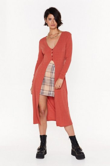 Rust Don't Be Gone Too Longline Knit Cardigan