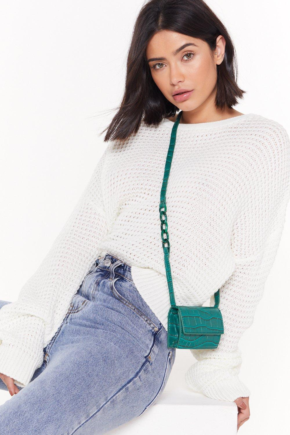 Want Getting Croc In Here Faux Leather Crossbody Bag by Nasty Gal