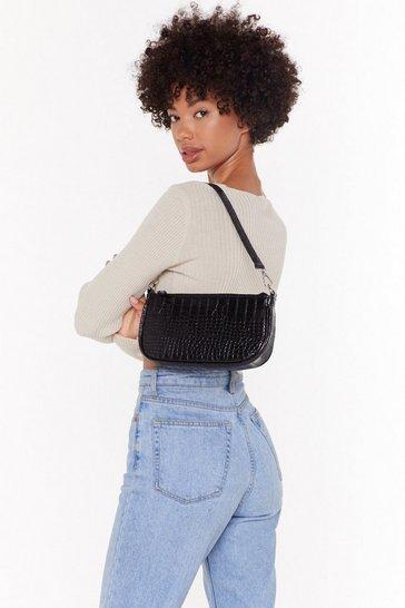 Black WANT You'll Be Back Faux Leather Croc Shoulder Bag