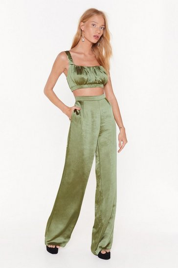 Olive Satin the Mood Wide-Leg Trousers