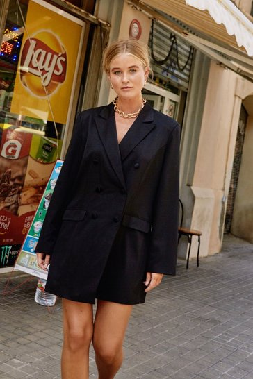 Black Oversized Blazer Dress with V-Neckline
