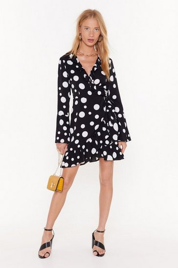 Womens Black Dot With Me Wrap Mini Dress