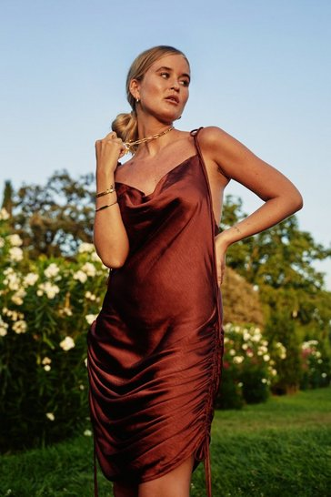 Tan In Love With the Drape of You Satin Cowl Dress