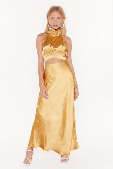 Womens Gold Bias Cut and Run Satin Maxi Skirt