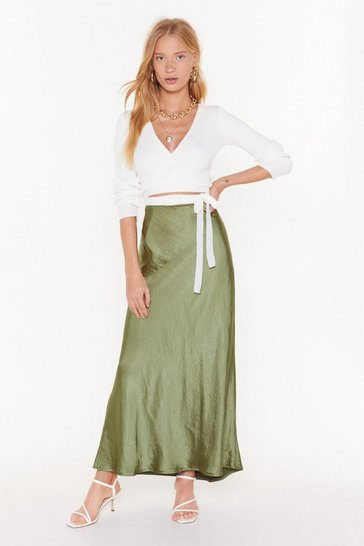 Womens Olive Bias Cut and Run Satin Maxi Skirt