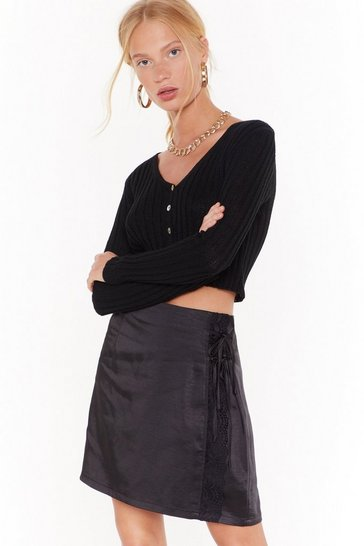 Womens Black Trim Me Over Satin Mini Skirt