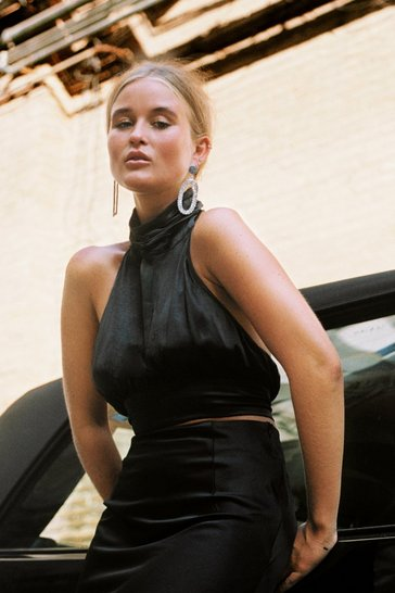 Black Cropped Satin Halter Top