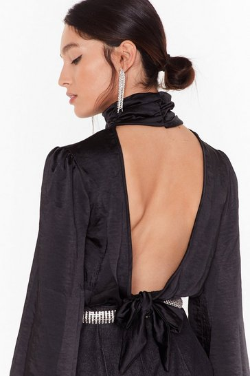 Womens Black Satin My Car Open Back Blouse