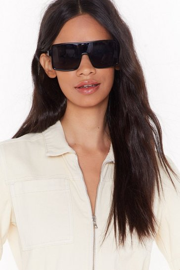 Womens Black Flap Top Off Your Look Oversized Square Sunglasses