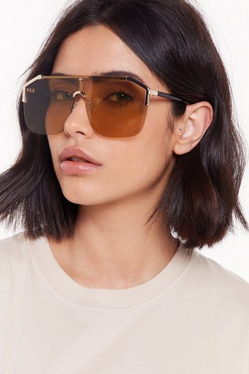 Womens Gold So Shady Oversized Aviator Sunglasses