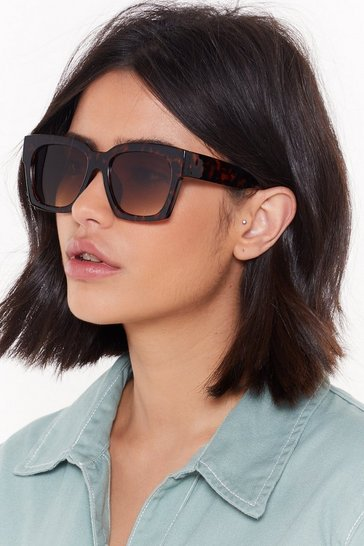 Womens Brown Who Would've Tort Square Sunglasses