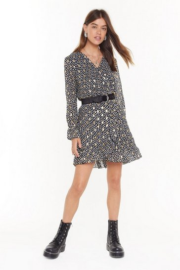 Womens Black Feelin' Dot Wrap Mini Dress