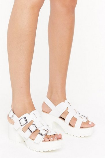 Womens White We're a Cut-Out Above the Rest Faux Leather Sandals