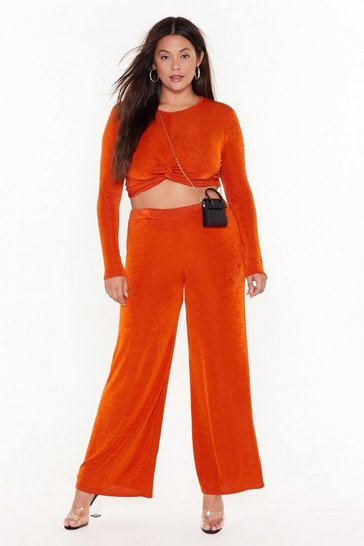 Womens Rust I'm Knot Kidding Plus Crop Top and Pants Set