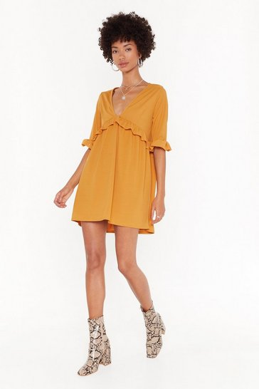 Womens Mustard Smock 'Em Dead Ribbed Mini Dress