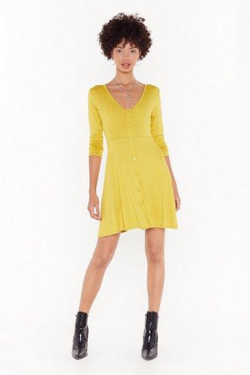 Gold Nobody Can Drag Me Button-Down Mini Dress