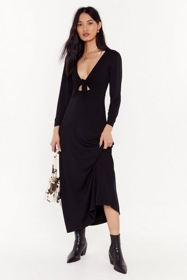 Womens Black Shout Cut-Out to My Ex Tie Midi Dress