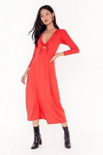 Red Shout Cut-Out to My Ex Tie Midi Dress
