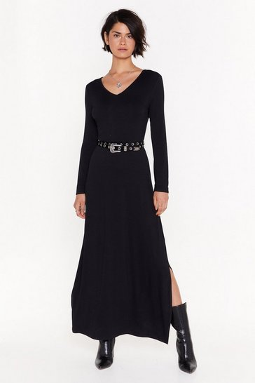 Womens Black Slit 'Em With the Truth Relaxed Maxi Dress