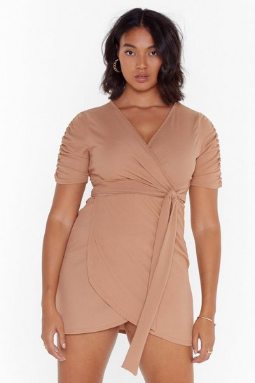 Camel Knot Quite Yours Plus Wrap Dress