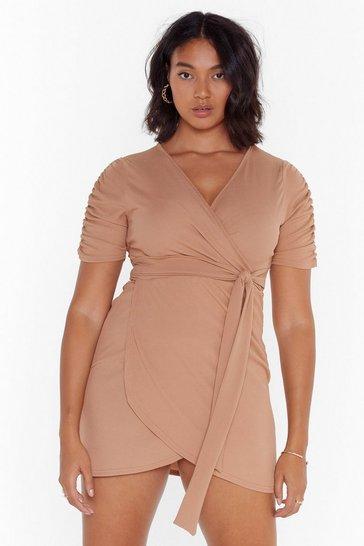 Camel Knot Quite Yours Plus Wrap Dress
