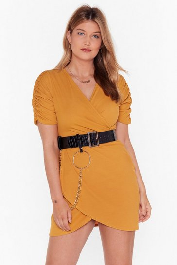 Mustard Knot Quite Yours Plus Wrap Dress
