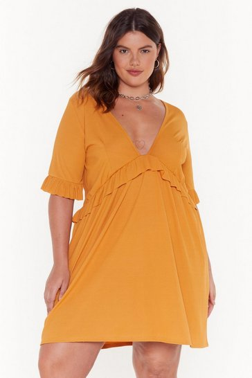 Womens Mustard Smock 'Em Dead Plus Ribbed Dress