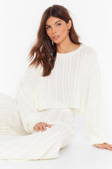 Womens Cream Cable Knit Batwing Jumper & Culotte Lounge Set