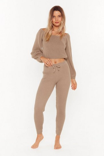 Womens Brown In a Com-knitted Relationship Sweater and Joggers Lounge Set