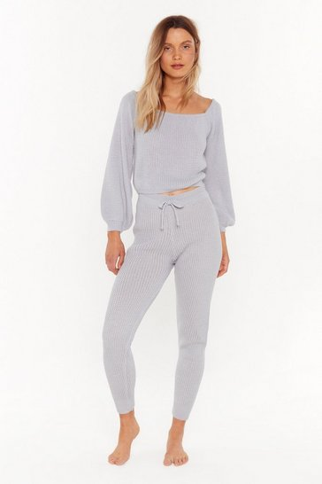 Womens Grey In a Com-knitted Relationship Sweater and Joggers Lounge Set