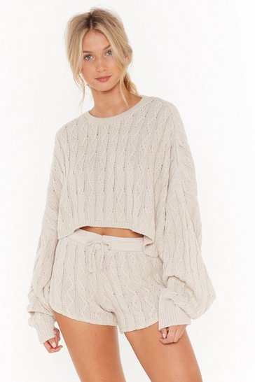 Oatmeal Got Cable Knit Sweater and Shorts Lounge Set