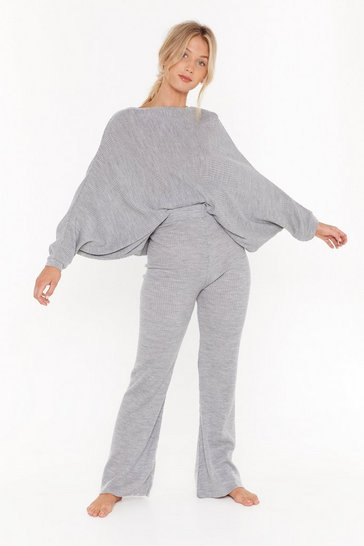 Womens Grey Slash Neck Batwing Sweater & Jogger Set