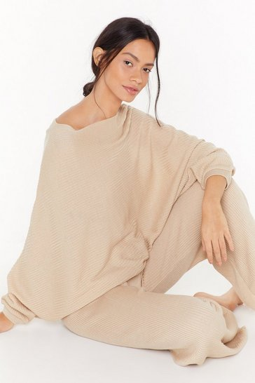 Womens Oatmeal Slash Neck Batwing Sweater & Jogger Set