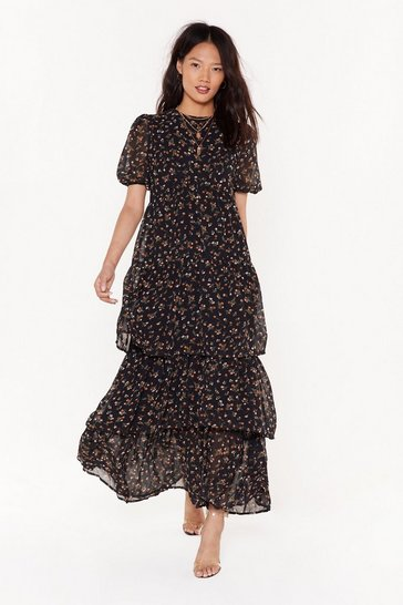 Womens Black Flower After Flower Floral Maxi Dress