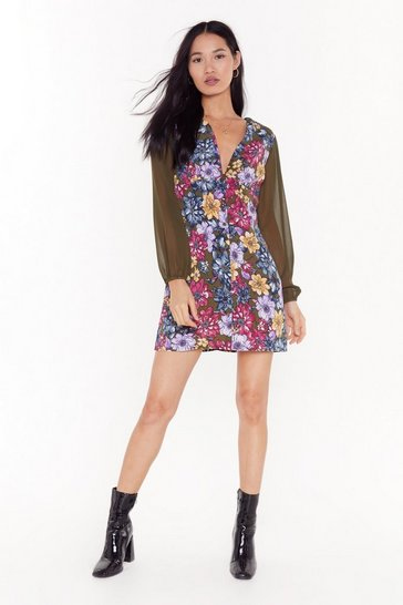 Womens Olive Bohemian Rhapsody Floral Mini Dress